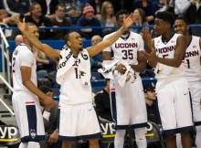 Ryan Boatright celebrates UConn's win over USF (Stephen Slade | UConn)